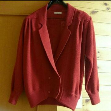 赤 ニットダブルジャケット コクーンシルエット M 80年代