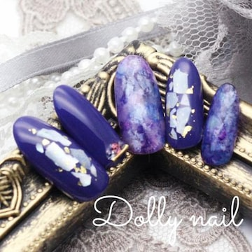 みぢょ!オーバル美爪ニュアンスアート天然石マーブル青紫ネイル