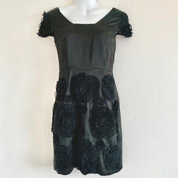silkblackflowerシルクブラックフラワー黒花艶ワンピースドレス