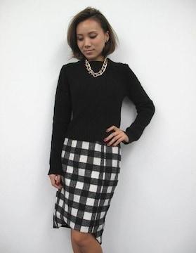 新品未使用★EGOIST エゴイスト★ブロックチェックミディスカート ブラック×ホワイト/M