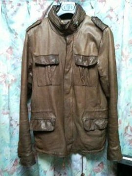 シシsisiiレザーブルゾンM65ジャケットブラウン