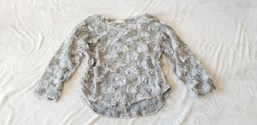 グレーふわふわお洒落可愛い丸首七分袖オルチャンニットセーター