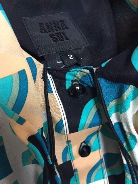 ANNA SUI★新品★グリーン柄物長袖シルクワンピ★サイズ2 < ブランドの