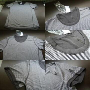 L 灰)アデイダス BXA36 Tシャツ リバーシブルSNOVATOKYO丸首半袖 adidas