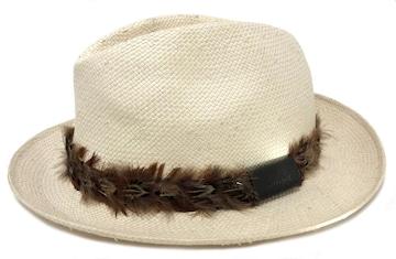 正規グッチ帽子ストローハット羽根付きレディースXLストロー