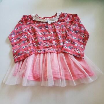 ピンク花柄さそレース長袖ワンピース90