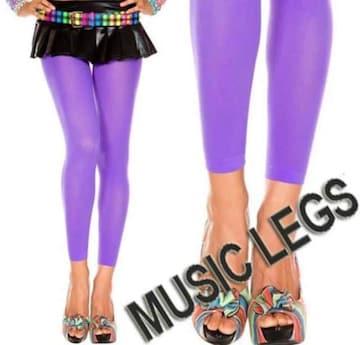 A1607)MUSICLEGSレギンスオペークタイツ紫パープルB系ダンスダンサー衣装ストッキング