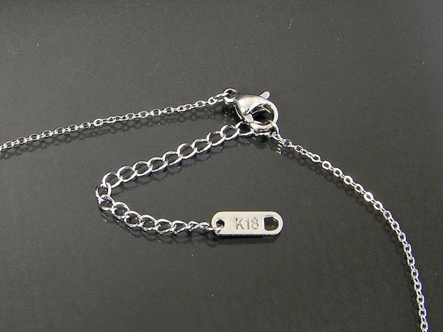 18金ホワイトゴールドフィルド シンプル ダイヤ ネックレス < 女性アクセサリー/時計の