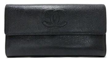 正規シャネル長財布キャビアスキンココマークA50070型押しレサ