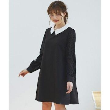 新品☆イング*袖ドットチュール付き衿付きAラインワンピ