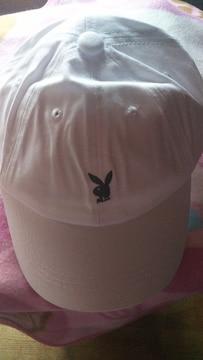 プレイボーイ☆帽子☆キャップ☆ホワイト☆白☆