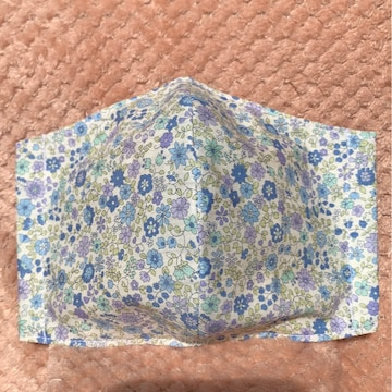 立体インナーマスク 大人用 ブルー小花柄