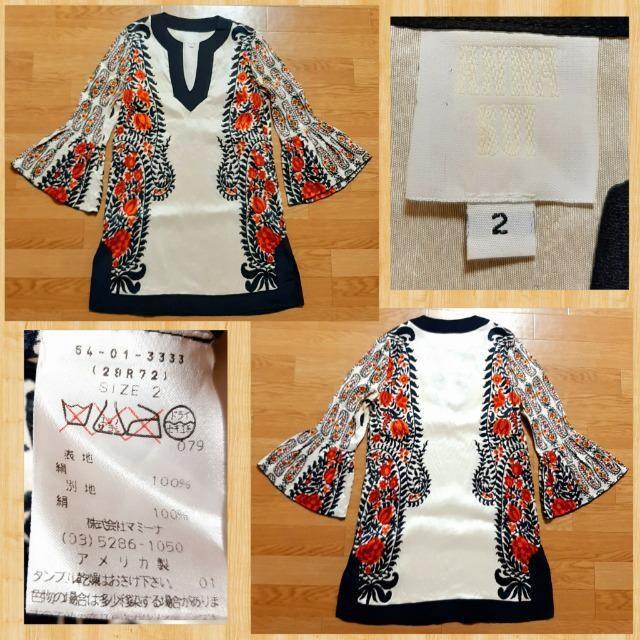 購入55000円 ANNA SUI アナスイ シルク100% ワンピース 2 絹 アメリカ製 < ブランドの