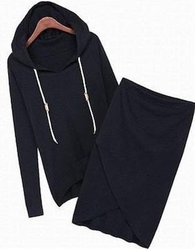 セット アップ パーカー & スカート 黒L