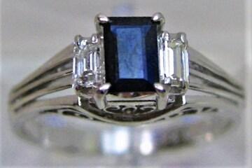 Pt850プラチナリング指輪サファイヤ0.47ctバゲットダイヤ0.17ct