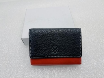 D413 未使用★ タケオキクチ コンパクト財布 三つ折り財布 本革