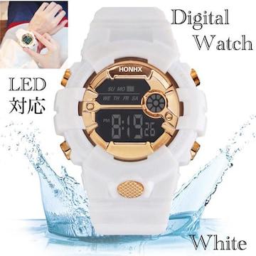 スポーツ腕時計 LED デジタル 腕時計 時計 ミリタリー 白