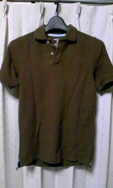 古着 コットン 半袖ポロシャツ Sサイズ 無地 焦げ茶色 ダークブラウン ユーズド  < 男性ファッションの
