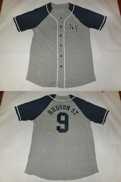 【AEROPOSTALE】NY HUDSON ST.刺繍ベースボール型半袖シャツUS L