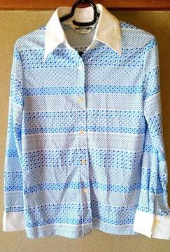 シャツ ブラウス 柄 水色 青 13号 長袖 洋服 レディース L