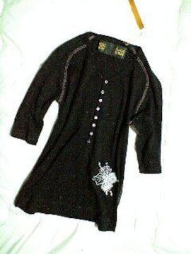 新品TROISOトロワゾ 刺繍ヘンリーネックラグラン5分袖T S