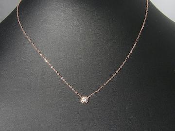 18金ピンクゴールドフィルド シンプル ダイヤ ネックレス