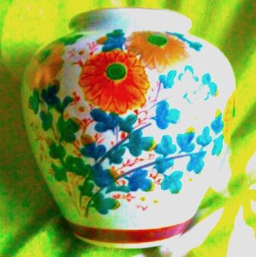 アンティーク 九谷焼 園山 日本製 手書き 金彩 草花 花器