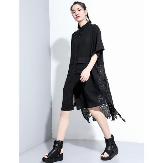 シャツブラウス レース切り替え フロントボタン ブラック < 女性ファッションの