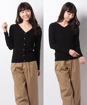 新品☆アースミュージックアンドエコロジー ビジュー釦2wayニットカーディガン☆