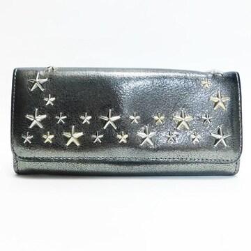 ジミーチュウ 二つ折り長財布 メタルグレー系 良品 正規品