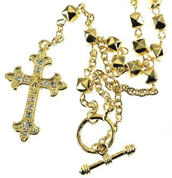 ゴールド 十字架ネックレス CZダイヤ入り