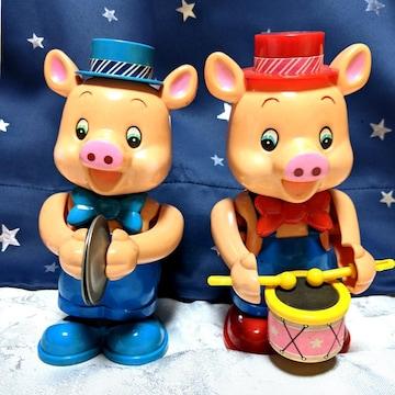 ビンテージ ゼンマイ 豚 おもちゃ 楽器 演奏 昭和 レトロ 置物