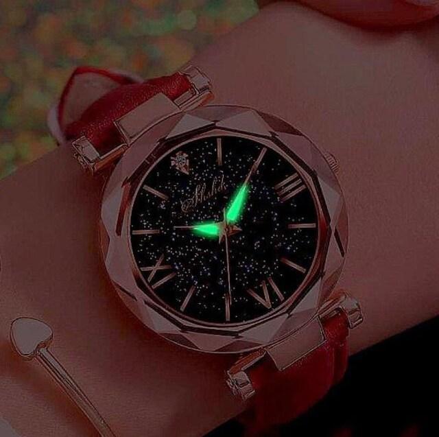 特A品 新品1円〜★送料無料★七色銀河 ダイヤモンド レッドウォッチ腕時計