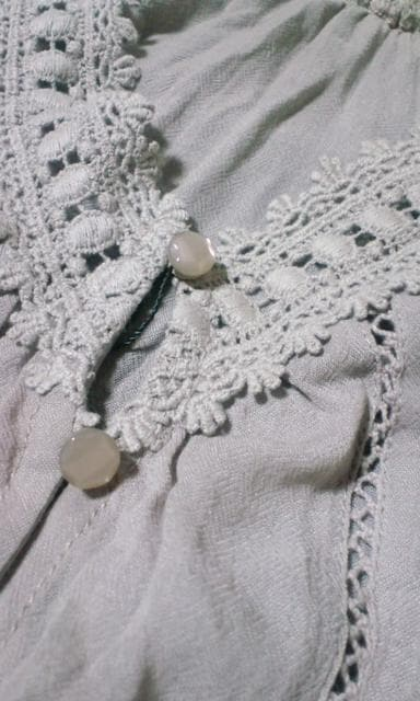 FOR it新品レース刺繍シースルーシフォンドルマントップスカーディガン灰色 M < 女性ファッションの