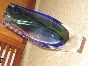 未使用☆クリスタル*花瓶*ガラス製(ブルー×グリーン)
