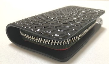 スマートキーケース ブラック 本革 クロコ×エナメル デザイン