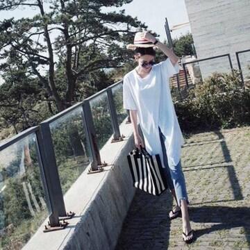 超お買得890円★★ロングTシャツ トップス 半袖  白XL