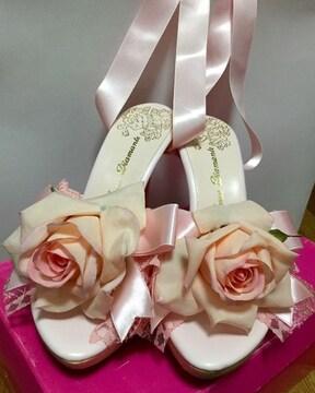 JD☆ライトピンク薔薇レースアップミュール☆M