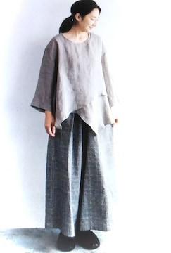 *08Mab*リネンシャンブレー 裾レイヤードpo 新品 gray