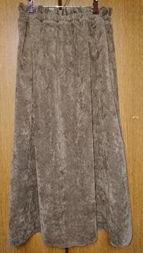 130 フレアスカート コーデュロイ 茶 ブラウン L