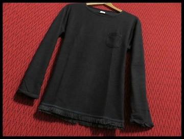 SALE裾フリンジツイストスラブニットソー Tシャツ L/BLK/L