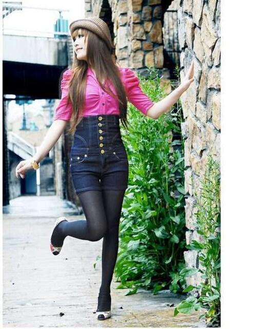 ストレッチ★ハイウエスト★デニムショートパンツ(Sサイズ) < 女性ファッションの