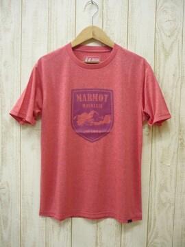 即決☆マーモット特価マウンテンエルバード半袖Tシャツ RED/XL ポス 吸汗・速乾