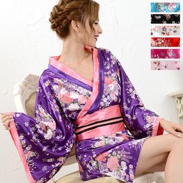 和柄 サテン着物 帯付きミニドレス 花魁風 衣装 チャムドレス