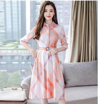 【S】ワンピース レディース 韓国ファッション チェック