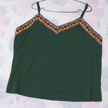 未着用★5L位★可愛い刺繍のキャミソール★緑
