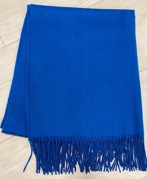 美品 カシミヤマフラー ブルー系