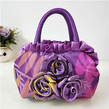1円新品ローズ&フリルやわらかナイロンハンドバッグ紫パープルレディースバラ