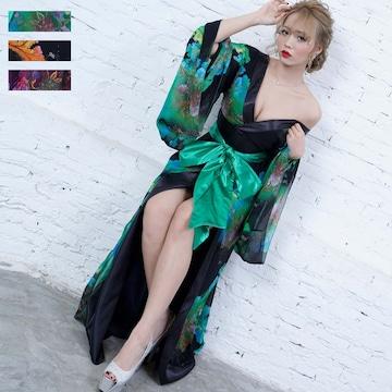 フラワープリント リボン セクシーロング着物ドレス チャムドレス