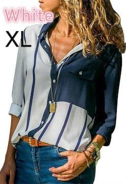 新品☆ストライプ柄♪綺麗シャツ ホワイト XL
